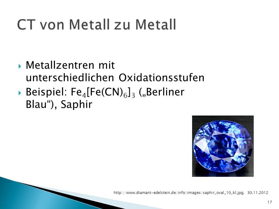 """CT von Metall zu Metall Metallzentren mit unterschiedlichen Oxidationsstufen. Beispiel: Fe4[Fe(CN)6]3 (""""Berliner Blau ), Saphir."""